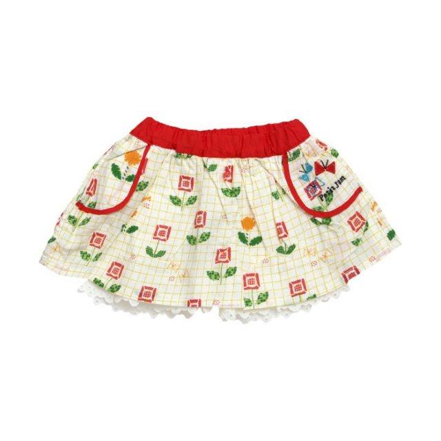 無地と柄のスカートパンツ